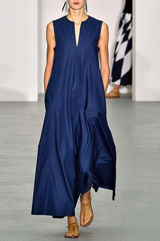 SHEHEAVEN V Collar With Sleeveless And Minimalism Maxi Dress