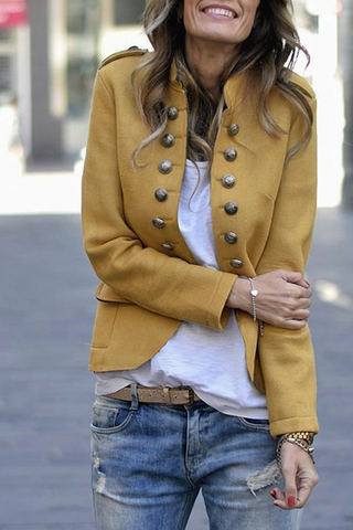 Fashion Button Long Sleeve Irregular Blazer