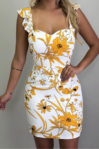Fashion Sleeveless Printed Colour Bare Back Bodycon Dresses
