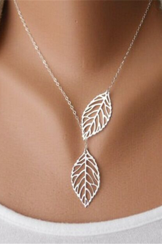 SHEHEAVEN Fashion simple retro leaf necklace