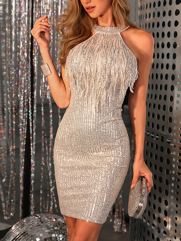 Sexy Halter Collar Backless Fringe Sequin Dress