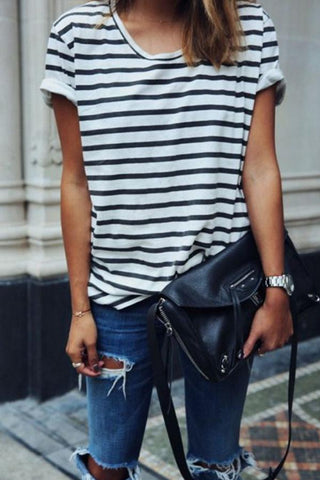 Round Neck  Striped Shirts
