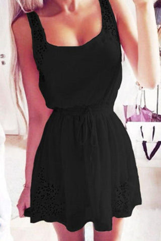 Spaghetti Strap  Belt  Hollow Out Plain  Sleeveless Skater Dresses