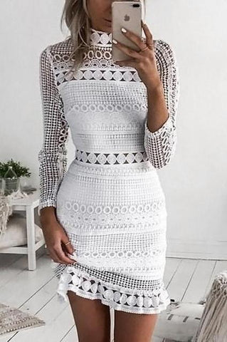 White Elegant Long Sleeve Hollow Bodycon Dress