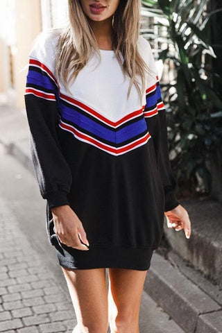 Elegant Long Sleeves Casual Stitching T-Shirt