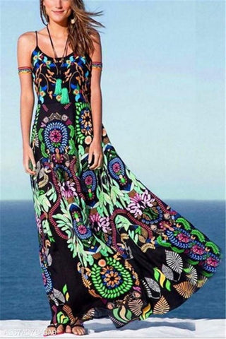Temperament Print Sling Dress
