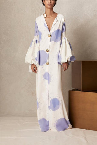 V Collar Long-Sleeved Printing Loose Casual Maxi Dress