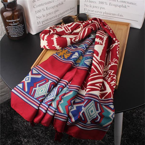 Ethnic Vacation Casual Fashion Rectangle Print Cape Scarf