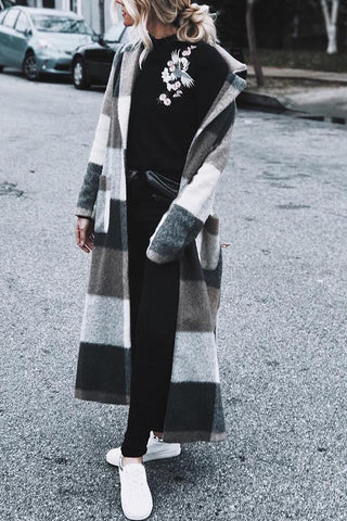 Fashion Loose Long Plaid Wool Coat