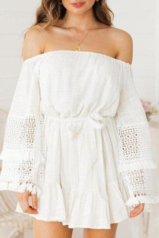 Fashion Off-Shoulder Bell Sleeve Tassel Casual Dresses