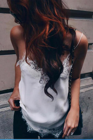 Fashion Lace Pure Colour Sling Vest