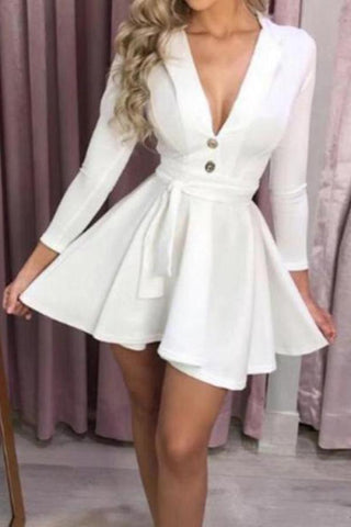 Casual Deep V Pure Colour Long Sleeve Mini Dresses