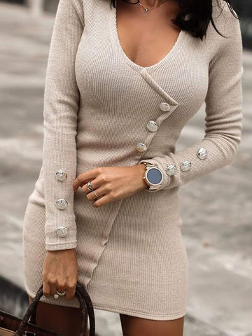 Casual Low Round Neck Long Sleeve Short Knit Dress