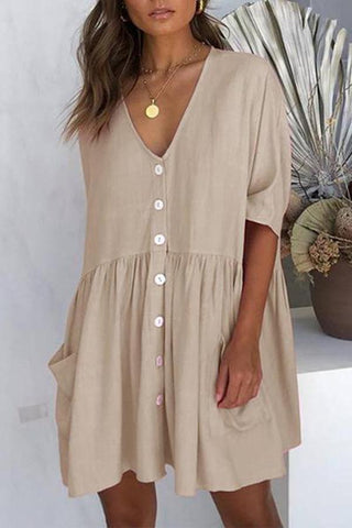 Women Summer Solid Color Casual Loose Pockets Mini Dress TOKEEPER Mini Dress