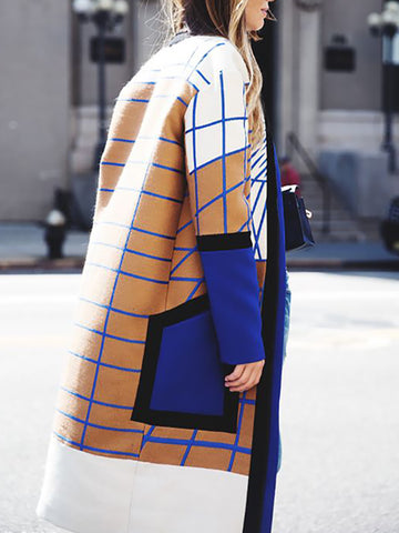 Women's Fashion Colorblock Striped Long Coat