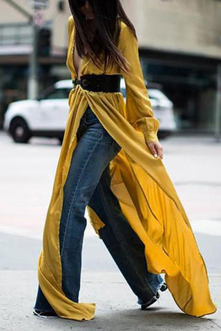Casual Sexy Deep V   Neck Slim  Show Thin Long Sleeve Pure   Color Maxi Dresses