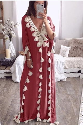 Chic V Collar Loose Fringe Decorated Vacation Dress