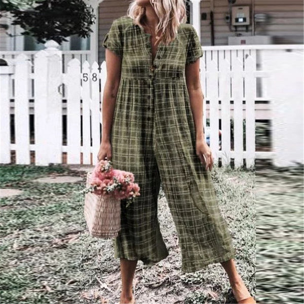STYLISHPOP Casual Plaid Loose Conjoined Trousers