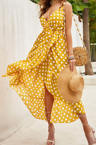 Sexy Polka Dot Print Irregular Hem Sling Dress
