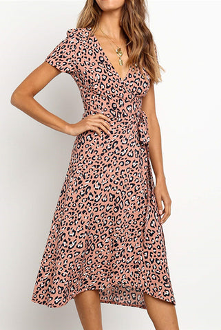 V-Collar Leopard Print High Waist Band Dress