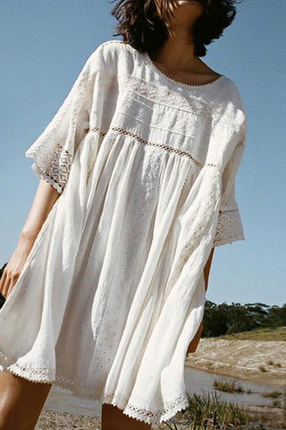 Casual Round Neck Lace Side Dress