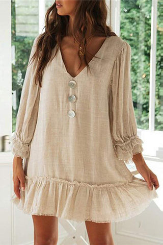 Fashion Button Decoration V-neck Ruffled Long-sleeved Loose Dresses