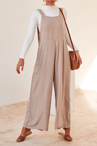 Simple Fashion Pure Colour Loose Sling Jumpsuit