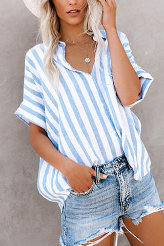 Casual Striped Short Sleeve T-Shirts