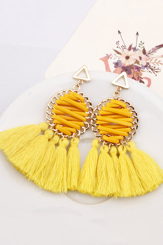 Fashion Vintage Ethnic Style Tassel Hand-Woven Earrings