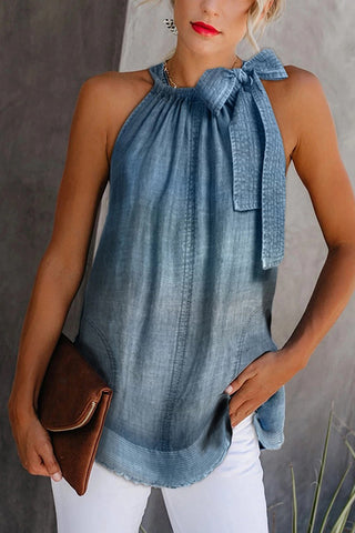 Casual Off-Shoulder Bowknot Denim Vest