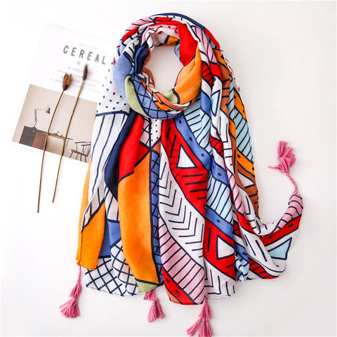 Sweet Easy Matching Sun-Resistant Gauzy Geometry Scarf