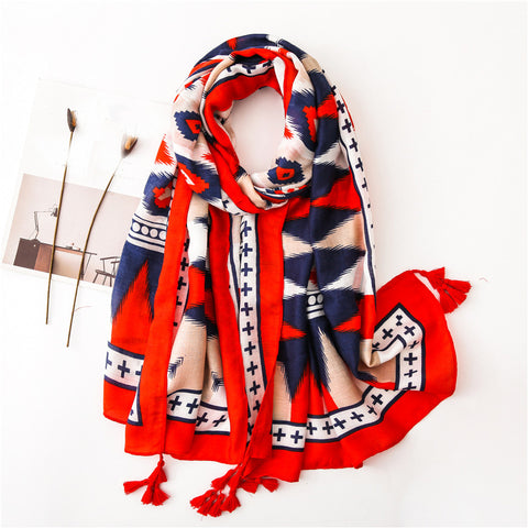 Red And Blue Contrast Fashion Diamond Geometric Cotton Print Scarf
