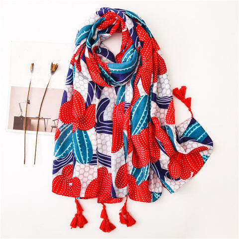 Women's Red Passionate Cactus Fashion Cotton And Shawl Scarf