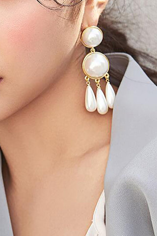 Creative Retro Simple Drop-Shaped Artificial Pearl Tassel Earrings