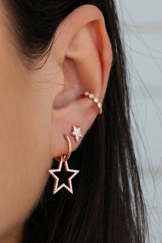 Pentagram Full Diamond Earrings Ear Clip Set