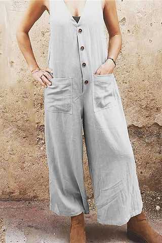 Casual Pure Color Sleeveless Single Breasted Jumpsuits