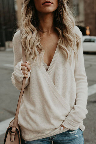 Casual V Neck Pure Colour Ribbed Cross Sweater