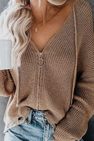 Casual Hat Collar Long Sleeve Pure Colour Sweater