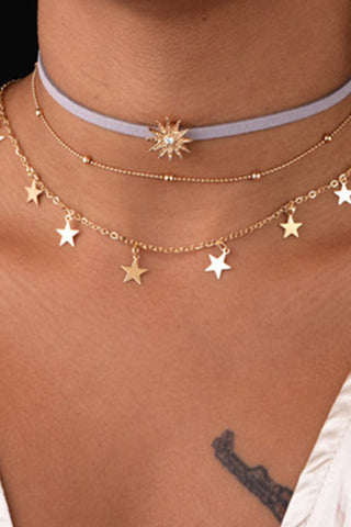 Fresh Multi-Layered Star Palace Shiny Sliced Five-Pointed Star Ladies Clavicle Chain