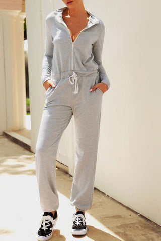 Casual Band Collar Long Sleeve Plain Jumpsuit
