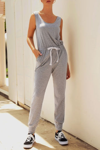 Casual Sleeveless Solid Color Jumpsuit