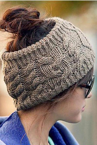 Topless Twisted Knit Wool Hat