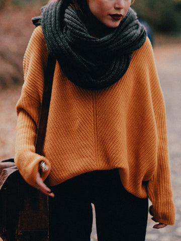 Casual solid colour loose long sleeves sweater