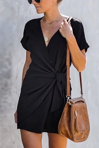 Women's Fashion V-neck Short Sleeve Dress