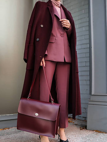 Fashion Pure Color Long Sleeved Lapel Overcoat