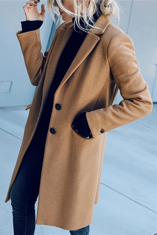 Casual Lapel Pure Color Overcoat