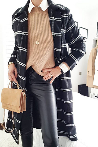 Simple retro classic plaid warm women's jacket
