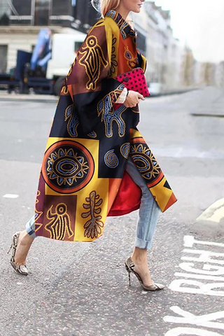 Casual Contrast Color Printed Colour Overcoat