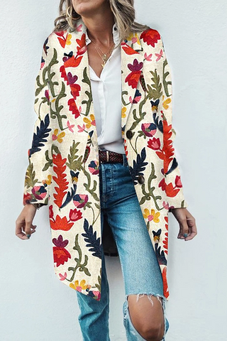 Women's Fashion Turndown Collar Printed Colour Coat