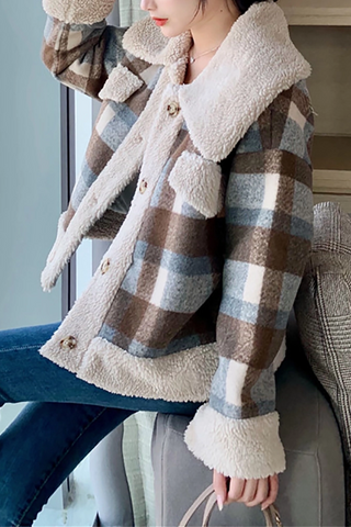Fashion plaid long sleeves lapel coat
